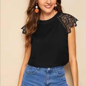 Black lace sleeve blouse top scalloped contrast